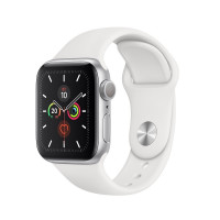 Смарт-часы Apple Watch Series 5 44 mm, алюм, сереб + бел рем, MWVD2RU/A