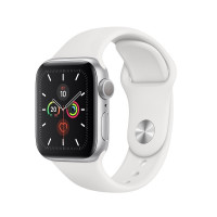 Смарт-часы Apple Watch Series 5 40 mm, алюм, сереб + бел рем, MWV62RU/A