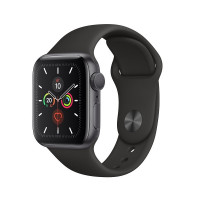Смарт-часы Apple Watch Series 5 40 mm, алюм, сер/косм + чер рем, MWV82RU/A