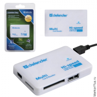 Картридер+USB хаб DEFENDER COMBO TINY, USB 2.0, порты SD/MMC, TF, M2, MC, 83502