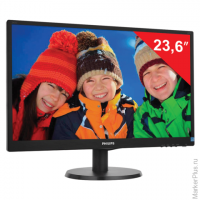 "Монитор LED 23,6"" (60 см) PHILIPS 243V5LSB, 1920x1080, TN+film, 16:9, DVI, D-Sub, 250 cd, 5 ms, черн"