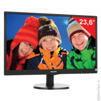"Монитор LED 23.6""(60см) PHILIPS 243V5LAB 1920x1080/TN+film/16:9/DVI/D-Sub/250cd/5ms/чер"