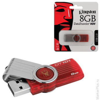 Флэш-диск 8 GB, KINGSTON DataTraveler DT101G2, USB 2.0, красный