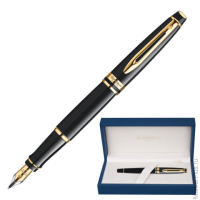 Ручка перьевая WATERMAN Expert Black GT, корпус нерж.сталь, позолоченные детали, S0951640, синяя