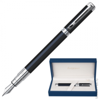"Ручка перьевая WATERMAN ""Perspective Black CT"", корпус латунь, никель-палладиевое покрытие, синяя, S"