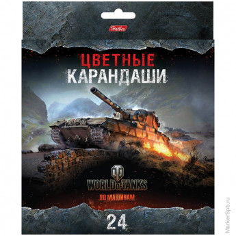 "Карандаши ""World of tanks""  24цв., заточен., картон.уп., европодвес"