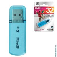 Флэш-диск 32GB SILICON POWER Helios 101 USB 2.0, металл. корпус, голубой, SP032GBUF2101V1B