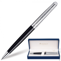 Ручка шариковая WATERMAN Hemisphere Deluxe Black CT,корпус латунь,детали паллад.покрыт,S0921150,син