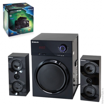 Колонки компьютерные DEFENDER AVANTE X50 BT, 2.1, 2Х10W, 1х30 W, MP3, FM, USB, SD, AUX, ПДУ, дерево, чёрные, 65850