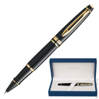 Ручка роллер WATERMAN Expert Black GT, корпус нерж.сталь, позолоченные детали, S0951680, черная