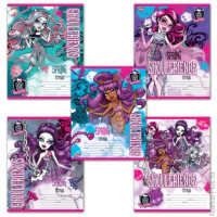 "Тетрадь 12 л., HATBER, клетка, блестки, ""Monster High"", 12Т5блB1, T149256"