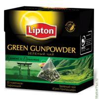 "Чай LIPTON (Липтон) ""Green Gunpowder"", зеленый, 20 пирамидок по 2 г, 65415065"