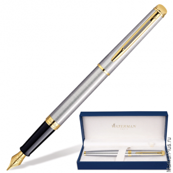 Ручка перьевая WATERMAN Hemisphere Stainless Steel GT, корпус нерж.сталь,позолоч.детали,S0920310,син