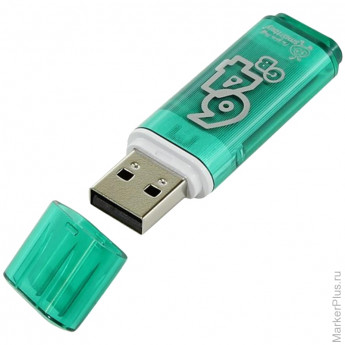 "Память Smart Buy ""Glossy"" 64GB, USB2.0 Flash Drive, зеленый"