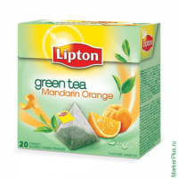 "Чай LIPTON (Липтон) ""Green Mandarin Orange"", зеленый, 20 пирамидок по 2 г, 65414958"